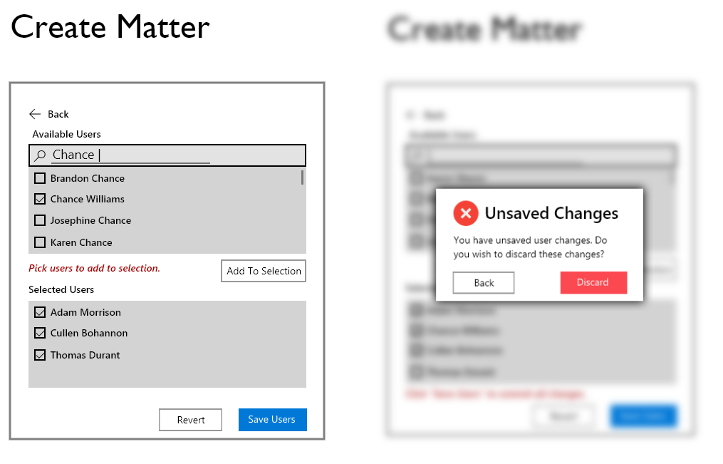 """Two sample screens from the """"Create Matter"""" flow."""