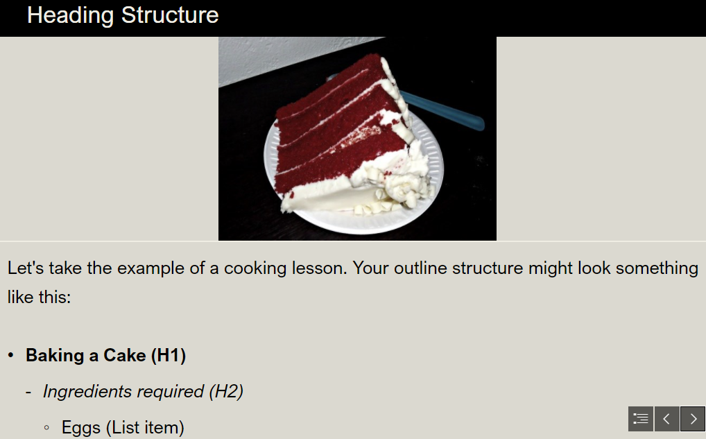 Slide of document accessibility presentation, showing a cake followed by a basic outline of baking instructions with heading tags marked.